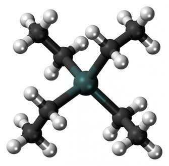 Ball-and-stick model of the tetraethyllead molecule, the antiknock agent added to leaded petrol. TEL was the cause of atmospheric lead pollution in the 20th century. Photo: Jynto/Wikimedia Commons