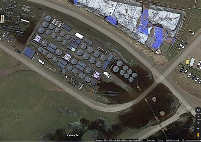 Aerial shot of a conventional PFAS remediation at a fire training facility. The visual shows the size of footprint, and thus difficulty, in treating water from such a facility and associated stormwater runoff with leaching PFASs. Photo: Google Maps
